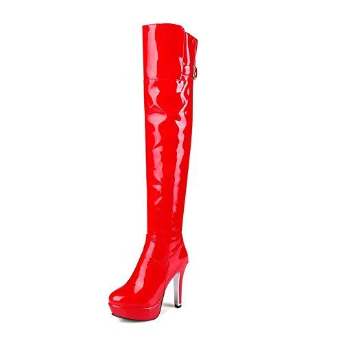 AgooLar Damen Schließen Zehe Hoher Absatz Hoch-Spitze Rein Stiefel Rot