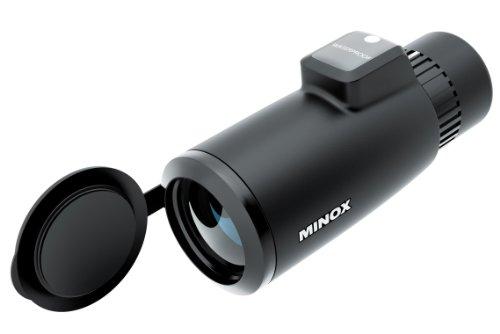 MINOX MD C 7x42 Monokular Schwarz – Kompaktes Fernrohr-Teleskop mit analogem Kompass – Inkl. Trageriemen und Köcher