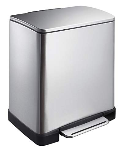 EKO E-Cube Tretmülleimer 20L Edelstahl (32 x 36.6 x 44.5 cm, Dämpfer-System, Fingerabdruck frei, Stay-Open, Abfallbeutelfixierung), matt silber