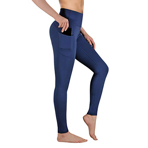 Gimdumasa Pantalón Deportivo de Mujer Cintura Alta Leggings Mallas para Running Training Fitness Estiramiento Yoga y Pilates GI188 (Azul Profundo, XL)