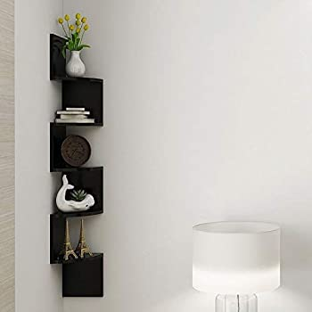 Furniture Cafe Zigzag Corner Wall Mount Shelf Unit/Racks and Shelves/Wall Shelf/Book Shelf/Wall Decoration (Dark Brown)