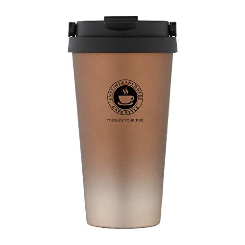 DWZX Mugs Portable 500 Ml Stainless Steel Coffee Mug Double Wall Vacuum Insulated Travel Mug with Leak Proof Lid Wide Mouth Tumbler - Leak-proof Insulated Travel Mug