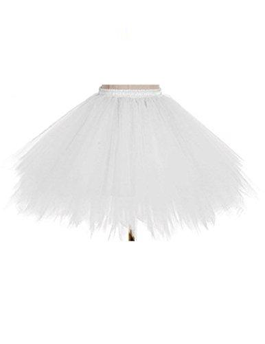 Tutu Frauen und Mädchen Ballettröckchen Röcke Prinzessin Ballett Pettiskirt Performing Dress Dancewear Unterröcke (Für Erwachsene(Waist: 60-95CM), white)