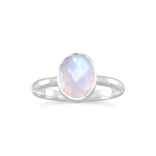 Ring Stapelbar Mondstein (Sterling Silber facettierte Mondstein stapelbare Ring)
