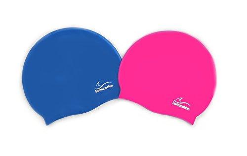 Swimmotion - 2 STK - Silikon Badekappen / Bademützen - One Size - für kurze und lange Haare - In mehreren Farben (Rosa und Violett)