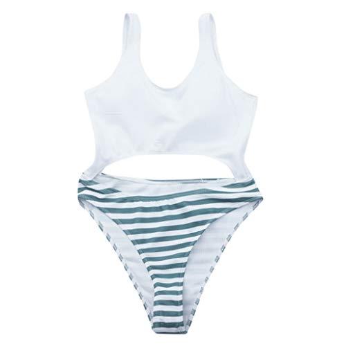 TWIFER Damen Sommer Soild Streifen Badebekleidung Beachwear Siamesischer Badeanzug Bikini