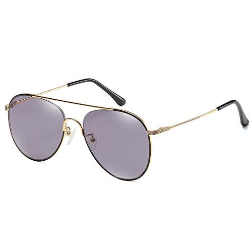 JunbosiAviator Sonnenbrille Männer und Frauen mit der gleichen bunten Metall Fahrer Brille Fahren Spiegel Nylon Objektiv Sonnenbrille,Black