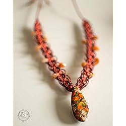 Collar de macrame artesanal con piedra Jaspe estilo bohemio