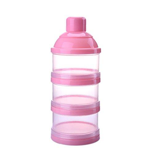Milchpulver Portionierer, Luerme 3 Schicht Milchpulver Lagerung Behälter Baby Milk Powder Formel Dispenser (Rosa)