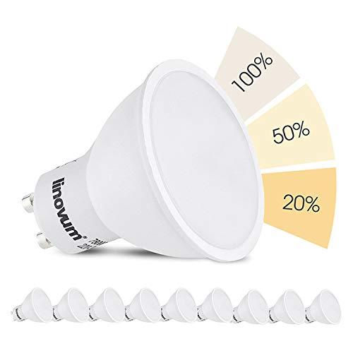 10 Stück linovum® fourSTEP Dim GU10 LED Lampe dimmbar mit 4-Schritt Dimmung, dimmbar ohne Dimmer mit jedem Lichtschalter 5W Lichtfarbe warmweiß -