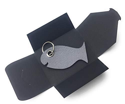 Schlüsselanhänger aus Filz - Fisch/Tier - grau/hell-grau - als besonderes Geschenk mit Öse und Schlüsselring - Made-in-Germany