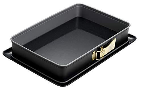 Dr. Oetker Rechteck-Springform mit Emaille-Boden 38 x 25 cm mit Servierboden, eckiges Kuchenblech, für große Blechkuchen, Serie Back-Idee Kreativ, Menge: 1 Stück
