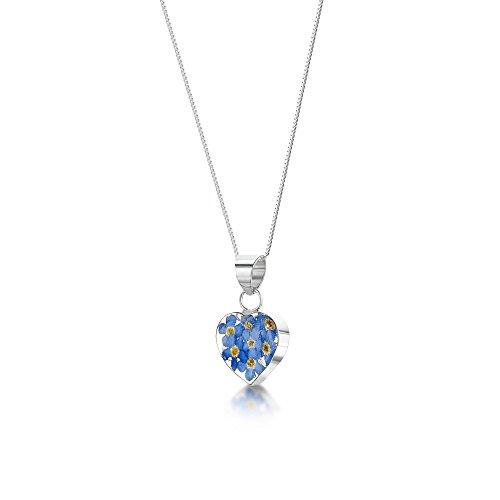 Shrieking Violet: Kettenanhänger - blaue Vergissmeinnicht - Herz - 925 Sterling Silber - 45 cm Kette