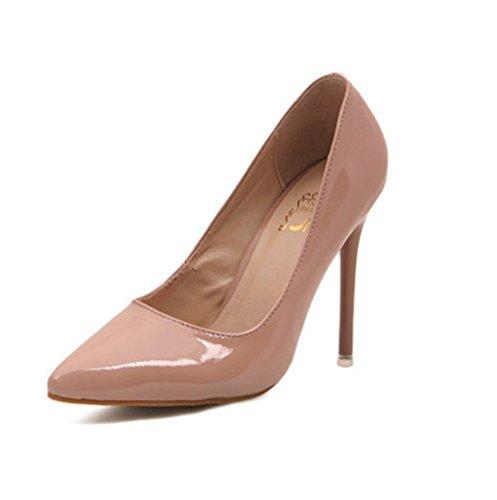 Damen Pumps Slip on Spitz Zehen Einfach Klassisch Lackleder High-Heels OL Büro Hochzeit Modisch Bequem Stiletto Beige