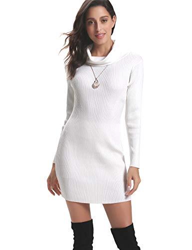 Aibrou Women Roll-Neck Sweater, Long Sleeve Turtleneck Knit Stretchable Elasticity Slim Fit Sweater Dress, Blanc, M
