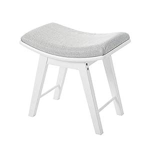 YOUKE Hocker Polsterhocker Sitzhocker Schminkhocker Holzhocker für Schminktisch Beine aus Kautschukholz mit konkaver Sitzfläche Weiß
