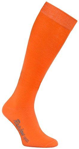 Rainbow Socks 1 Paar Bunte KNIESTRÜMPFE Gekämmte BAUMWOLLE, Modern Lange Socken MULTIPACK für Jeden Tag, Bequem und Fein|ORANGE, EU Größen 44-46, Made in EUROPA