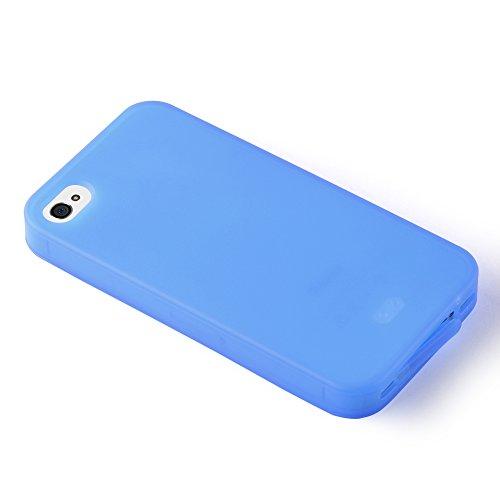 Cadorabo - TPU Silikon Schutz-Hülle (Full Body Rund-um-Schutz auch für das Display) für >               Apple iPhone 4 / 4S               < in FLIEDER-VIOLETT ALKALI-BLAU