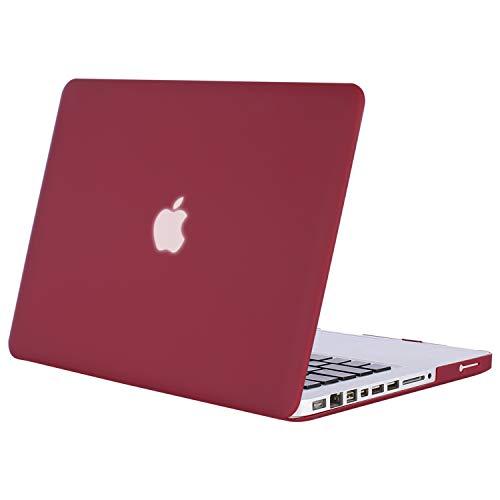 MOSISO Funda Dura Compatible Old MacBook Pro 13 Pulgadas con CD-ROM A1278 (Versión 2012/2011/2010/2009/2008), Carcasa Rígida Protector de Plástico Cubierta, Vino Rojo