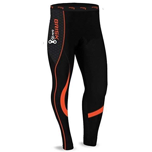 Brisk Bike Thermo-Radhosen Fahrradhosen Radsport-Leggings Fahrradhosen Radlerhosen gepolsterte Radhosen professionelle Radhosen Fahrradkleidung Mountainbike (Black / Orange, M)