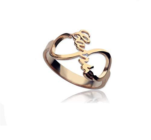 ierte Custom Infinity Typenschild Ring Stil Sterling Silber 925 Ehering Ring Verlobungsring für Sie(Rose-gold-10.5) ()