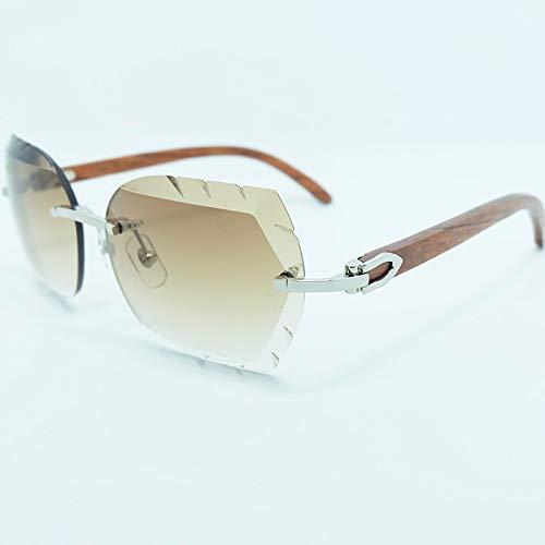 LKVNHP Hohe Qualität Randlose Sonnenbrille 3Mm Starke Farbverlauf Blaue Linse Quadrat Markenname Kastanienbraun Holz Sonnenbrille Holz SchattenHolz Silber Braun