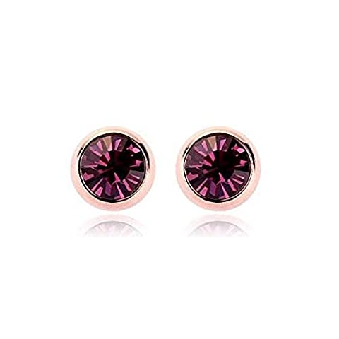 18ct Gold Finish Stud Earrings with Swarovski Amethyst Crystals
