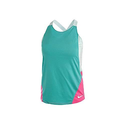 Nike Mädchen G Nk Dry Tank Elstka Hemd, Mehrfarbig (Hütte/blaugrüne Tönung/Laser Fuchsia/Weiß), XS -