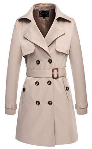 Valuker Trench para Mujer foso de las mujeres capa larga con cinturon abrigo beige (EU:XL / US:L)