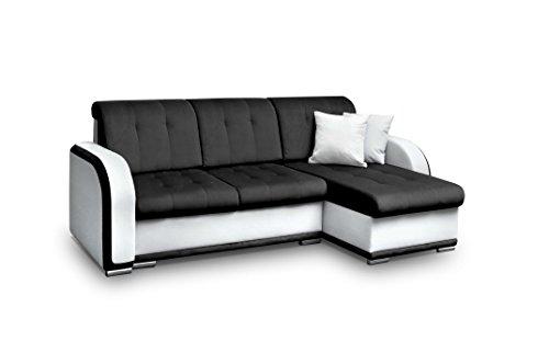 Avanti trendstore - avelino - divano ad angolo con funzione letto e cassettone integrato, in similpelle di colore bianco e nero, dimensioni: lap 240x90x140 cm