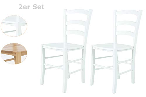 2er Set Holzstuhl Sorrento, Massivholz Buche Weiß lackiert, Leiterrücken 47 x 43 x 85 cm