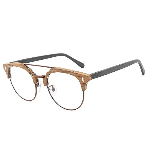 WULE-Sunglasses Unisex Frame Vintage Fashion Casual Holz Gläser Plain Gläser handgefertigte Holzplatte Gläser (Color : 02braun, Size : Kostenlos)