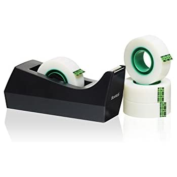 with 4 Rolls Tape Silver//Black Scotch C60 Desktop Tape Dispenser 19mm x 33m