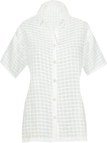 LA LEELA Sommerferien Partei Kragenhemd für Frauen Plus Größe Baumwolle Bestickt Feste Aloha XXL - DE Größe :- 50-54 Weiß_AA187