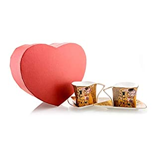 Tea/Coffee Cup Set with Art 'The Kiss' by Gustav Klimt in a Heart Shaped Gift Box