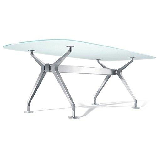 Interstuhl Silver 891S Konferenztisch, Bootsform, klein, mit Medienleiste - Echtholz - Amerikanischer Nussbaum