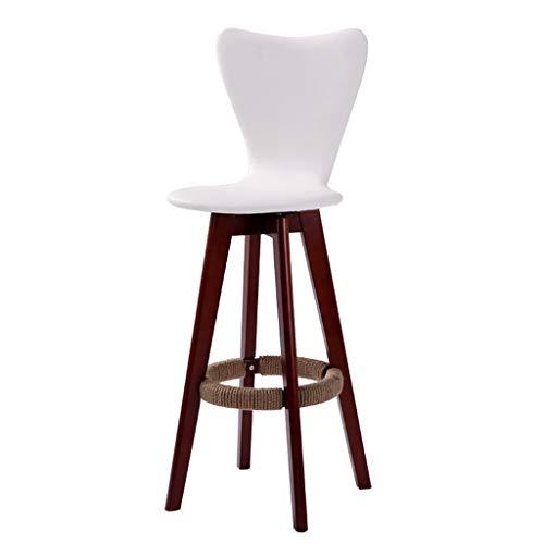 Chaise de bar chaise haute/tabouret haut chaise en bois chaise haute rotative chaise de bar/tabouret de bar avant rotation à 360 ° (Color : Blanc)