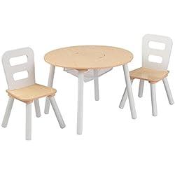 KidKraft 27027 Ensemble table ronde en bois avec rangement incluant 2 chaises, chambre enfant, meuble - coloris naturel et blanc