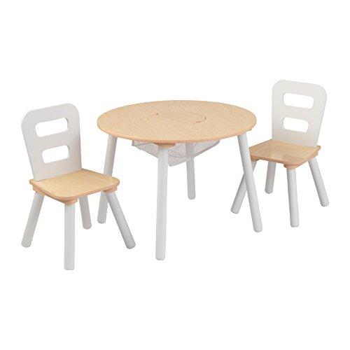 KidKraft- Mesa de madera redonda natural y blanca con 2 sillas, para...