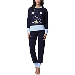 Italian Fashion IF Pijama Conjunto Camiseta y Pantalones Ropa de Cama Mujer Cheerful M007 (Azul Oscuro/Azul, L)