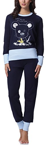 Italian Fashion IF Pijama Conjunto Camiseta y Pantalones Ropa de Cama Mujer Cheerful M007 (Azul Oscuro/Azul, M)