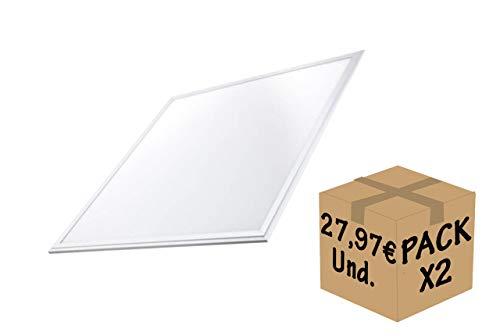 FactorLED-Set mit 2 LED-Panelen, 60 x 60 cm, 48 W, weißer Rahmen, 2 Stück LED-Lampen für Falso Decke, LED-Deckenplatte technisch, energiesparend, 4560 Lumen Neutralweiß -