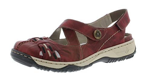 Rieker 47478 Damen Trekking Sandalen,Outdoor-Sandale,Sport-Sandale,geschlossener Zehenbereich,wine/schwarz/35,42 EU / 8 UK