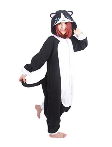 dressfan Unisex Adult Tier Pyjamas Schwarz Katze Cosplay ()