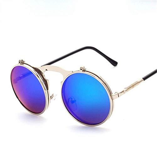YHEGV Retro Metall Punk Steam Flip Sonnenbrille Runde Designer Spiegel Rahmen Sonnenbrille Vintage Männer Frauen 'S Steampunk Eyewears
