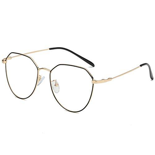 WBAHJBrillengestell Unisex Vollrand Brillengestell Gold Brillen Oval Computerbrille NO Degrees