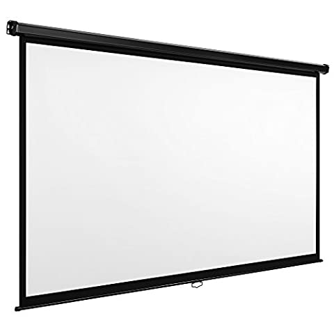 VonHaus 90-Inch Self Locking Manual Projector Screen - White