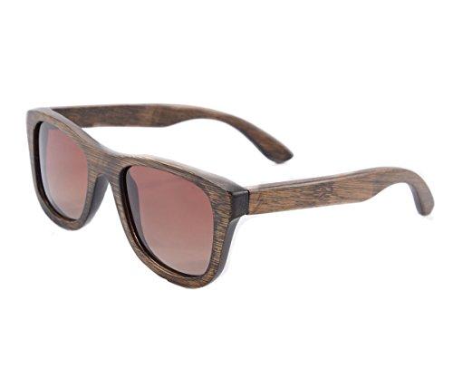 SHINU Woody Bambus Vayfarers Polyarized Flush Spiegel-Objektiv-Sonnenbrille vith Hour-Z6016 (gradient brown)