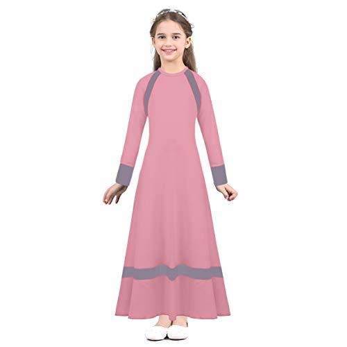 CHICTRY Niñas Maxi Vestido Largo Musulmanes islámica árabes Islam Litúrgico Traje Ropa de Baile Manga Larga Disfraz Caftán Túnica Medio Oriente Dubai Saudi Rosa 12-14Años
