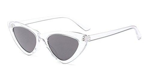 BOZEVON Damen Triangle Sonnenbrille - UV400 Brillen Katzenauge Retro Jahrgang Cat Eye Sonnenbrillen Weiß Stil Grau